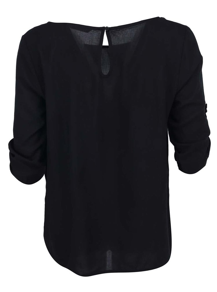 Čierne voľnejšie tričko s 3/4 rukávmi OLNY Geggo