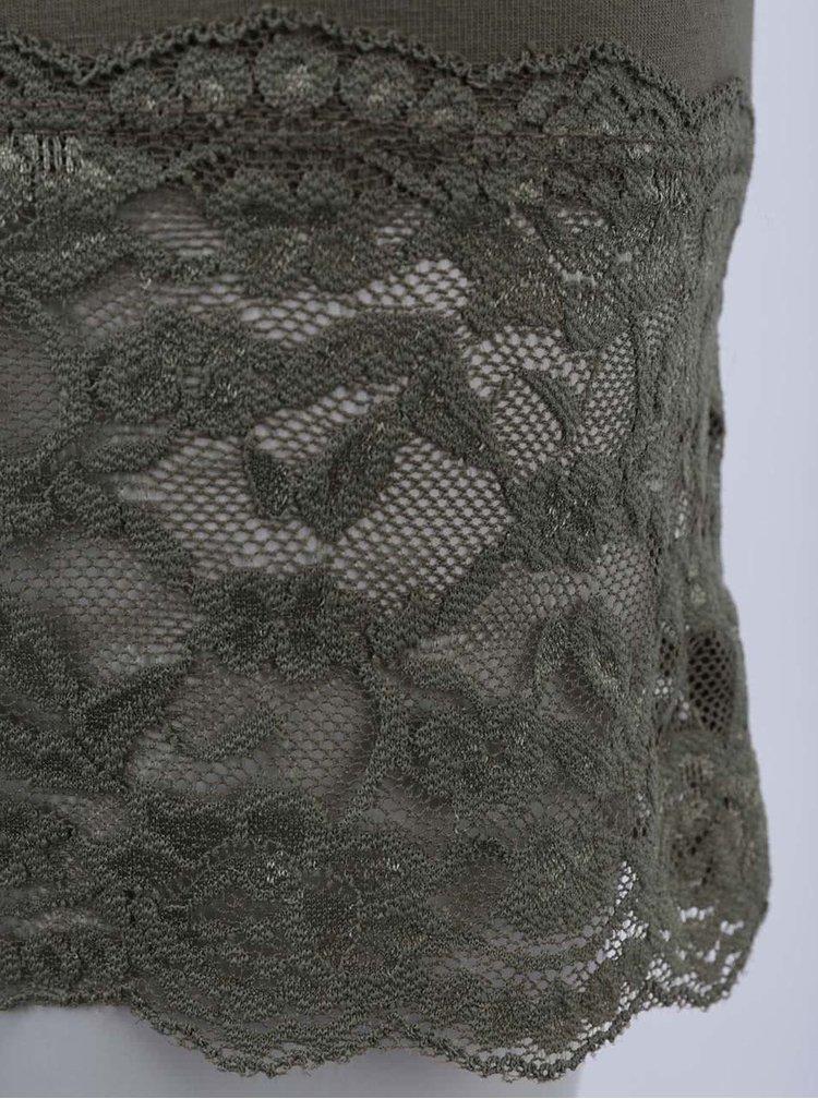 Kaki tielko s čipkou ONLY Long Lace