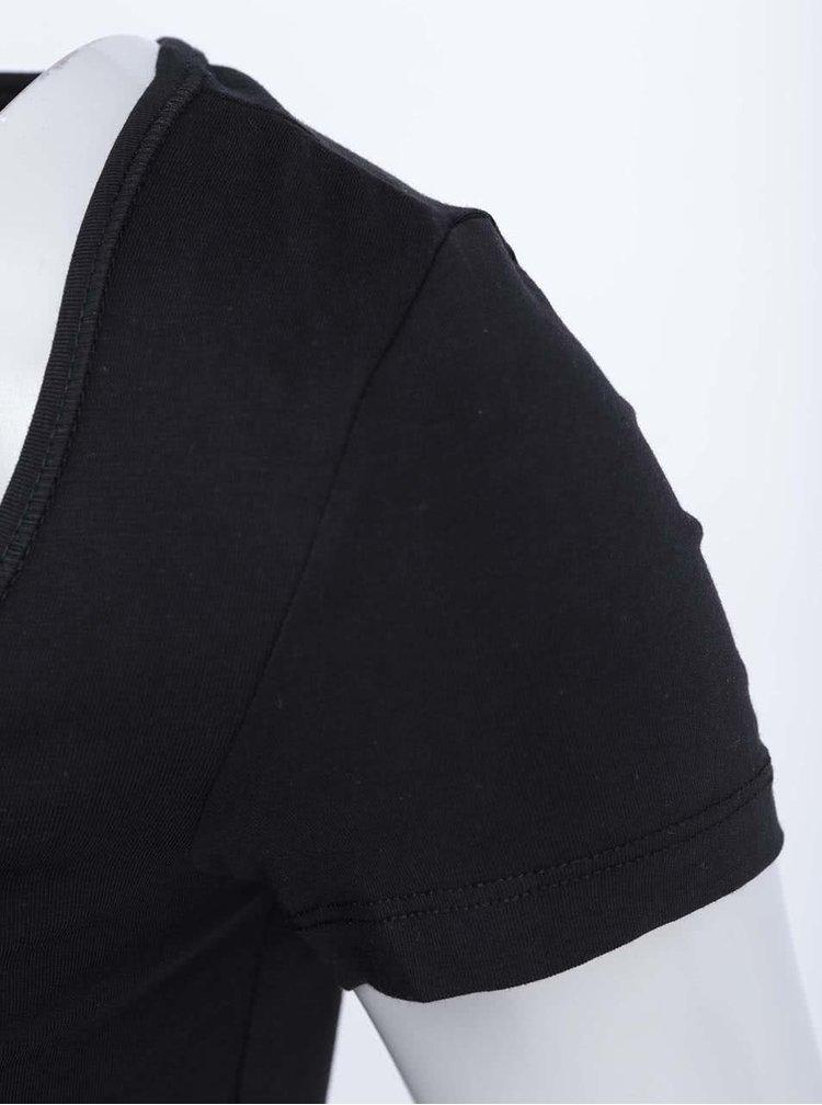 Tricou lung Maxi My, de la VERO MODA, negru, cu tiv din dantelă