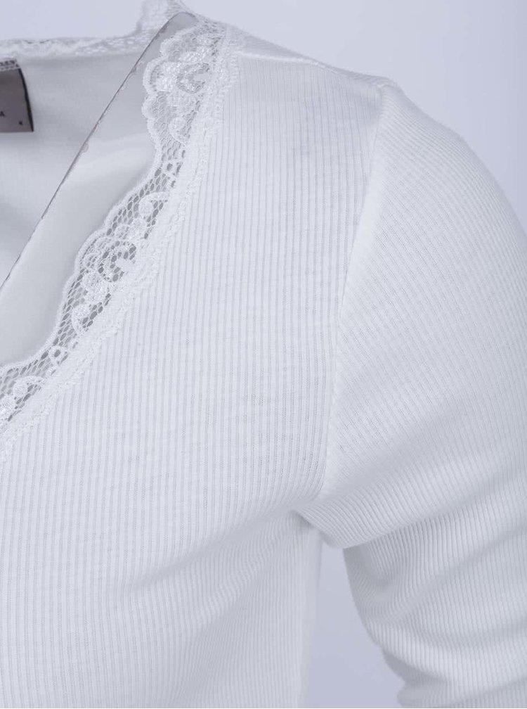 Bílý top s krajkovým výstřihem VERO MODA Lena