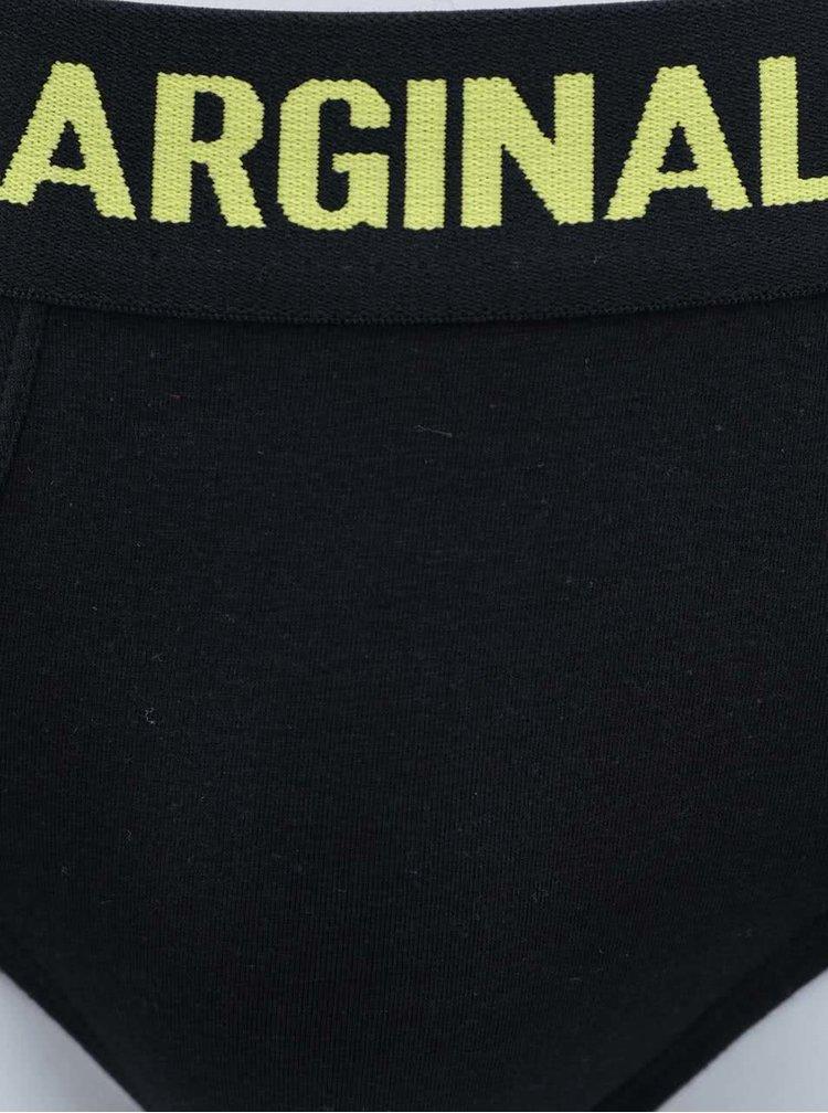 Sada dvou černých slipů s modrým a žlutým nápisem Marginal