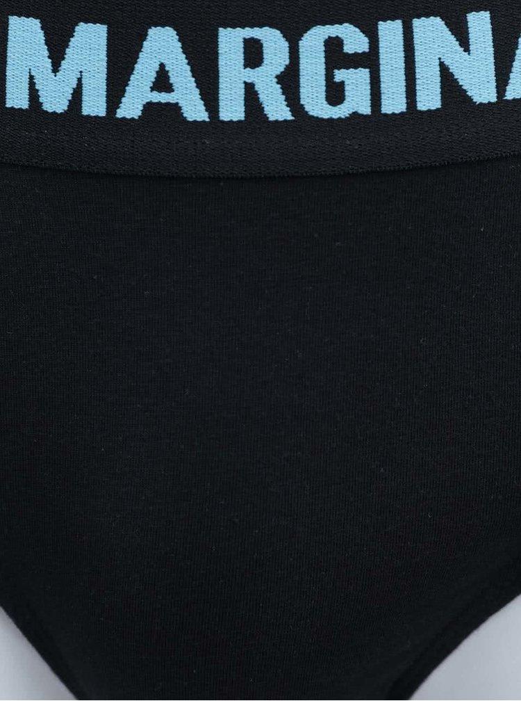 Sada dvou černých slipů s růžovým a modrým nápisem Marginal