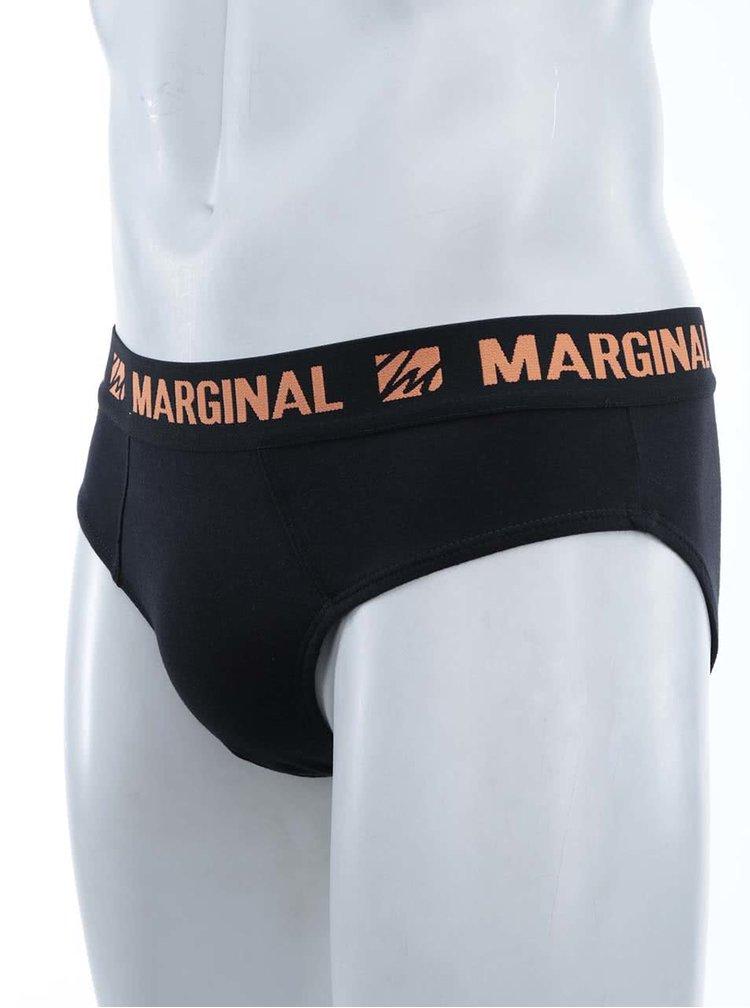 Sada dvou černých slipů s oranžovým a růžovým nápisem Marginal
