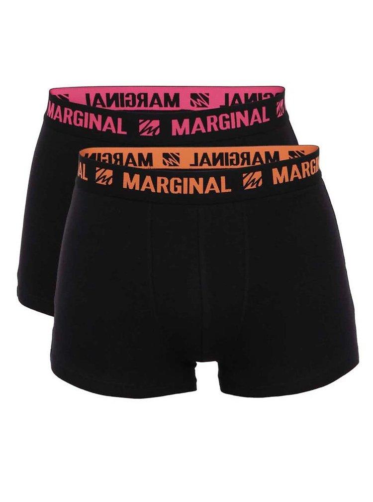 Sada dvou boxerek v černé barvě s oranžovým a růžovým nápisem Marginal
