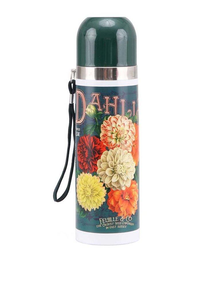 Zelená termoska s kvetinami Disaster Dahlia