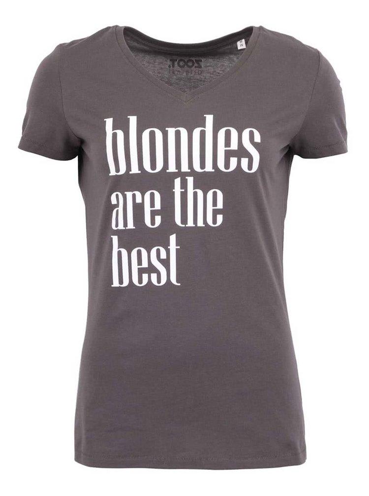 Tmavě šedé dámské tričko ZOOT Originál Blondes Are The Best