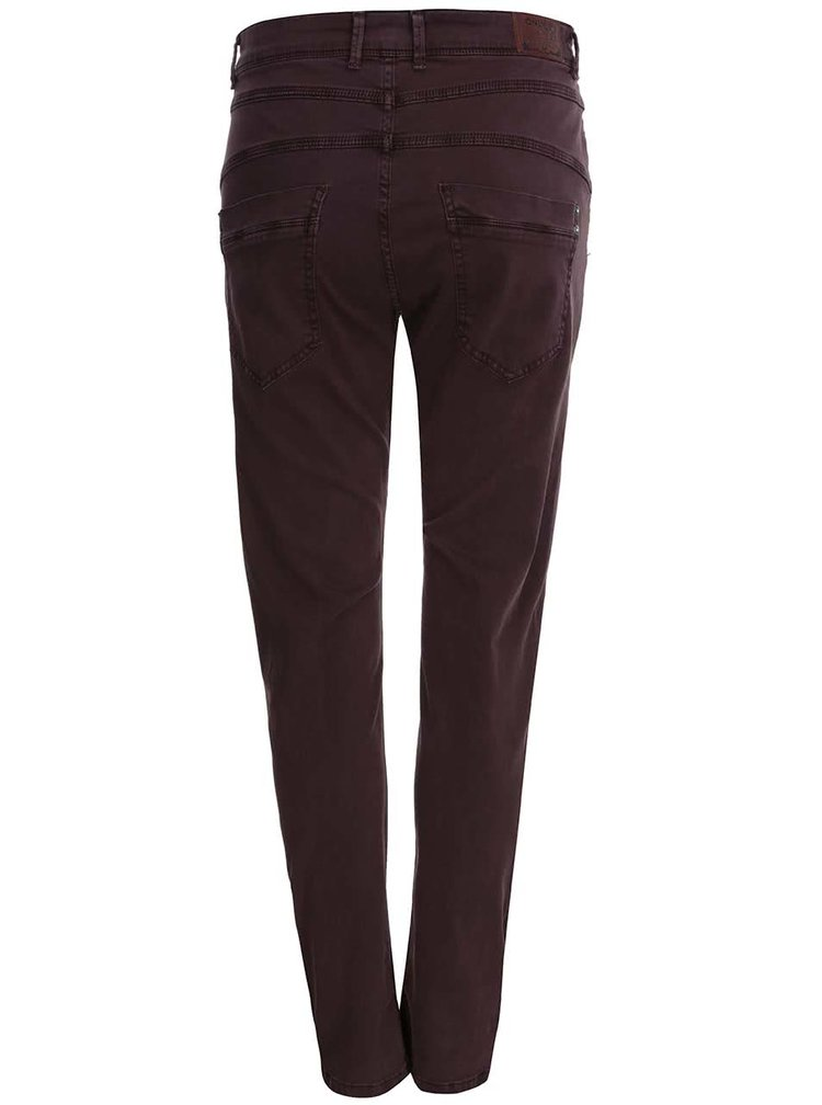 Vínové nohavice s vyšším pásom ONLY Lise