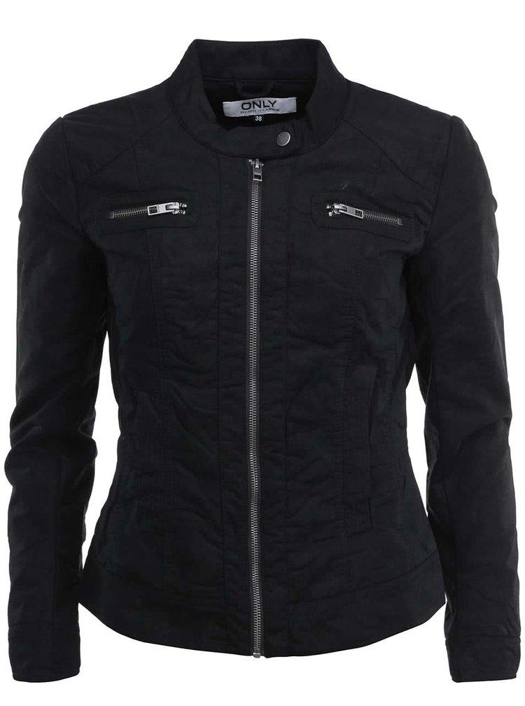 Jachetă scurtă Only din piele artificială - neagră