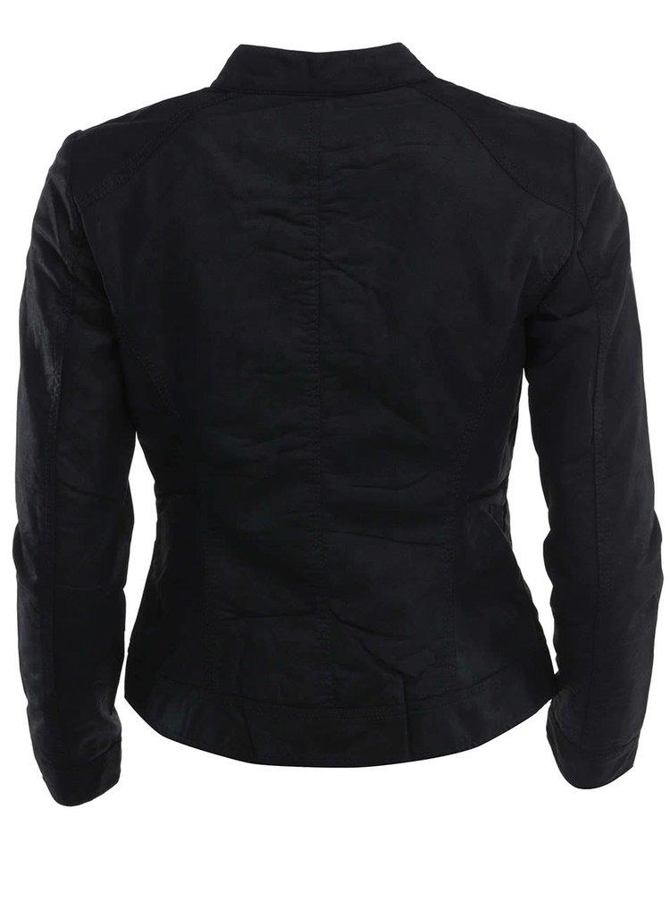 Čierna koženková bunda ONLY Biker
