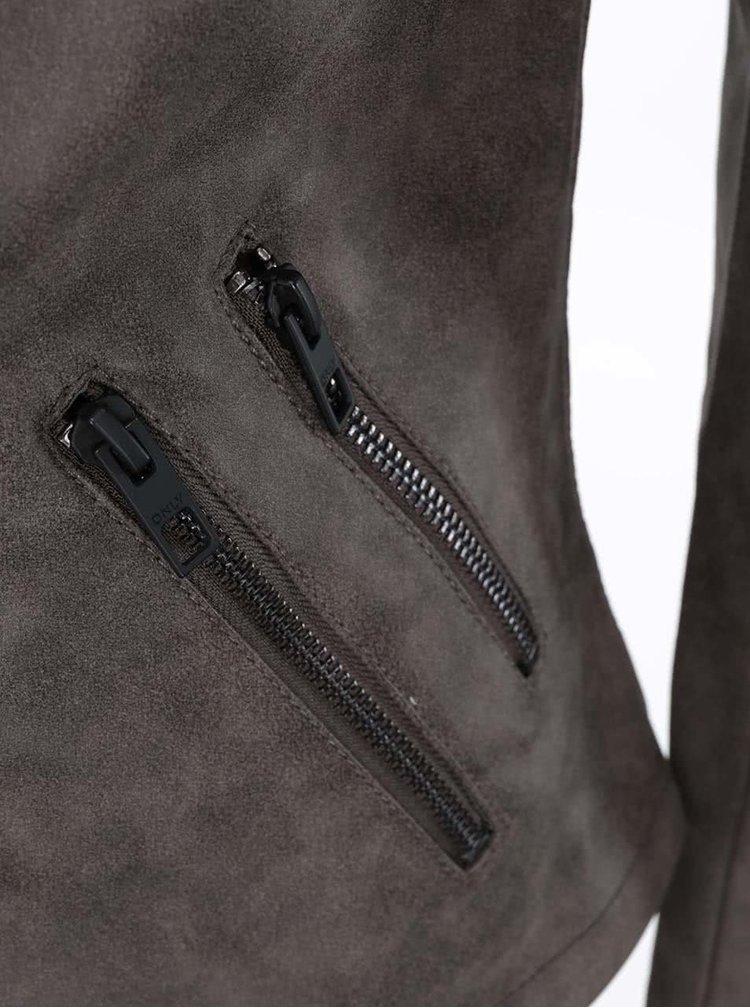Sivohnedá kratšia bunda v semišovej úprave ONLY Biker