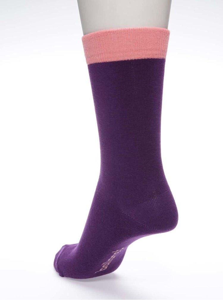 Fialové unisex ponožky s ružovým lemom Ballonet Socks Block Berry