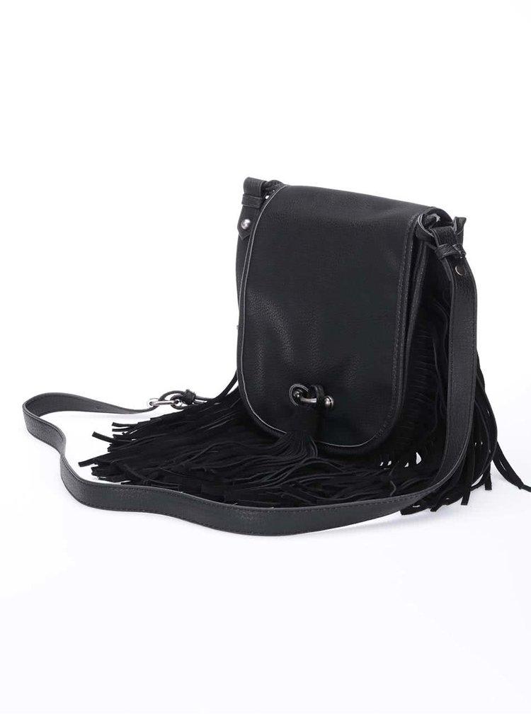 Černá crossbody kabelka s třásněmi v semišové úpravě Steve Madden Beast