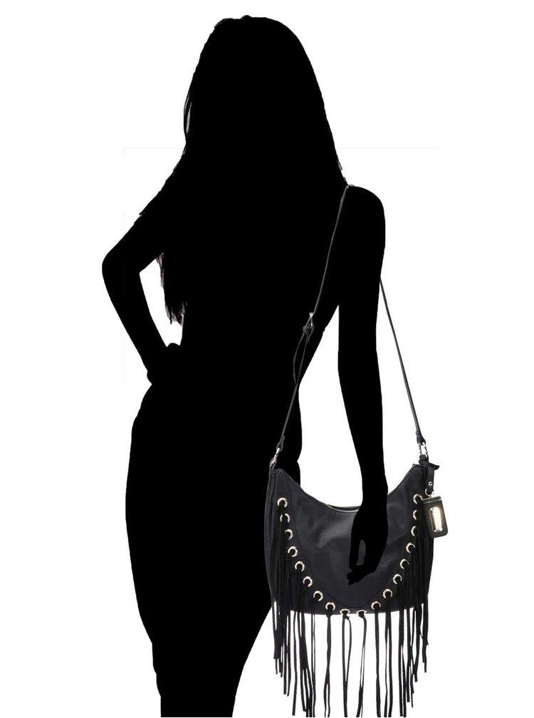 Černá menší kabelka s třásněmi Steve Madden North