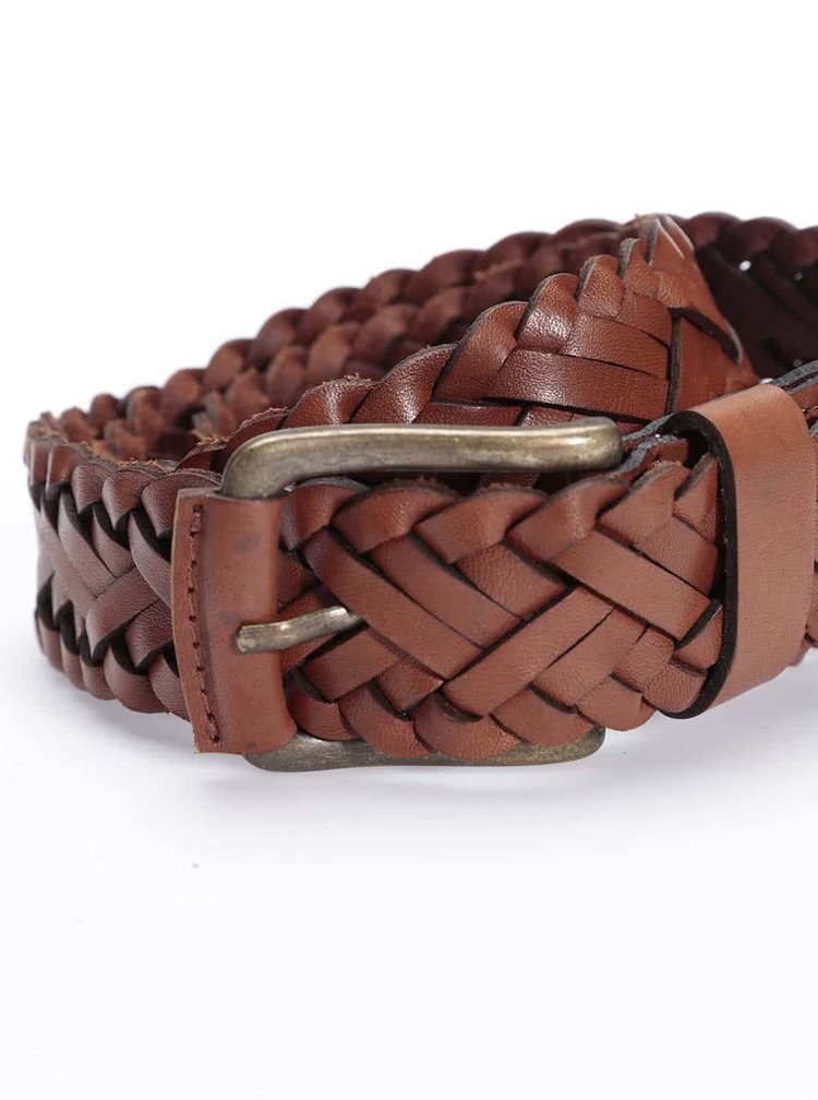 Hnedý kožený pletený opasok Jack & Jones Wax