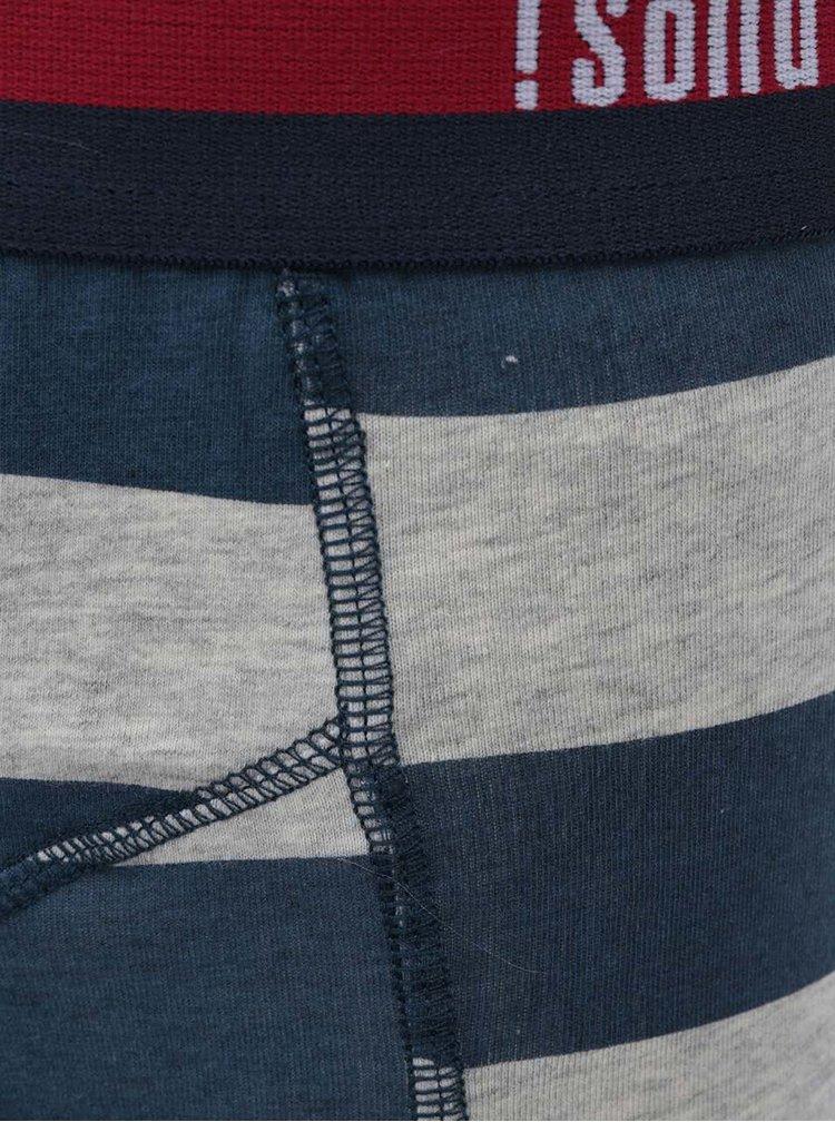Modro-šedé pruhované boxerky !Solid Niels Arne