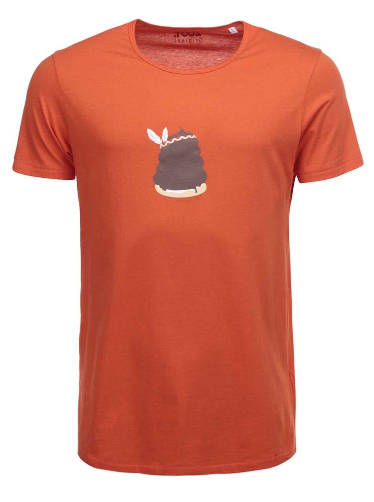 Oranžové pánske tričko s potlačou ZOOT Originál Indiánka