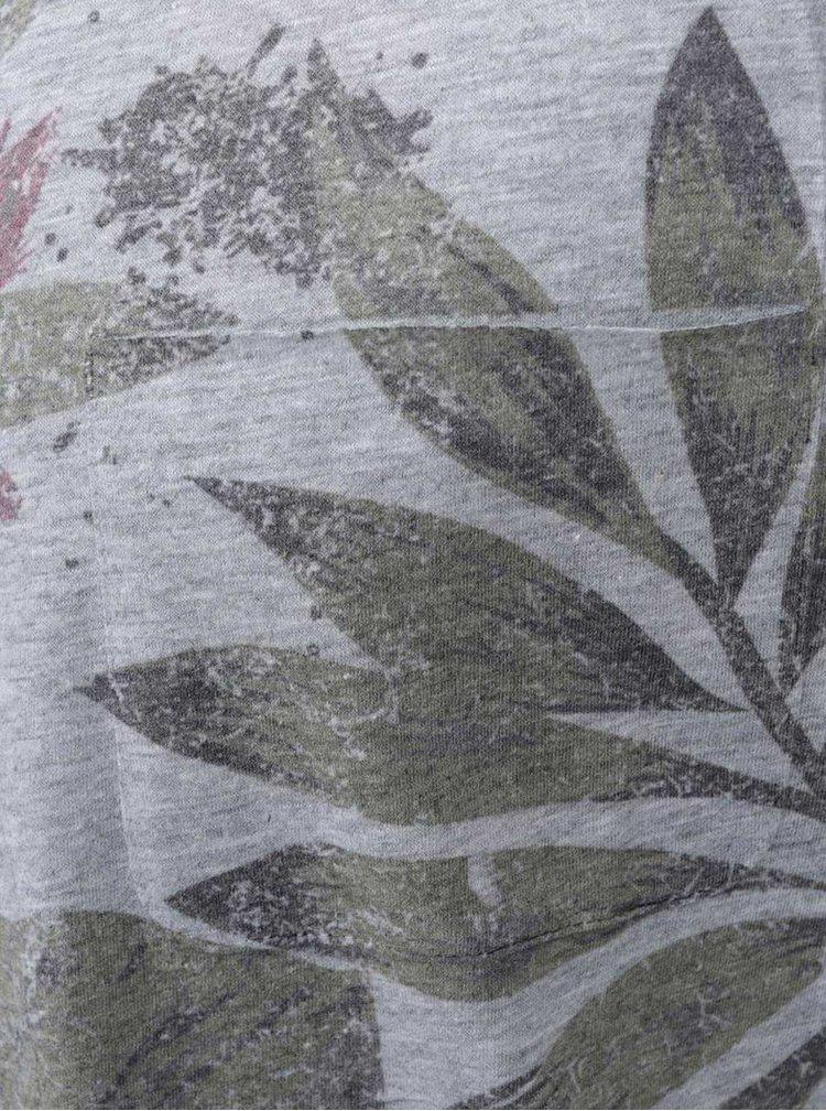 Šedé triko s potiskem listů !Solid Rylee