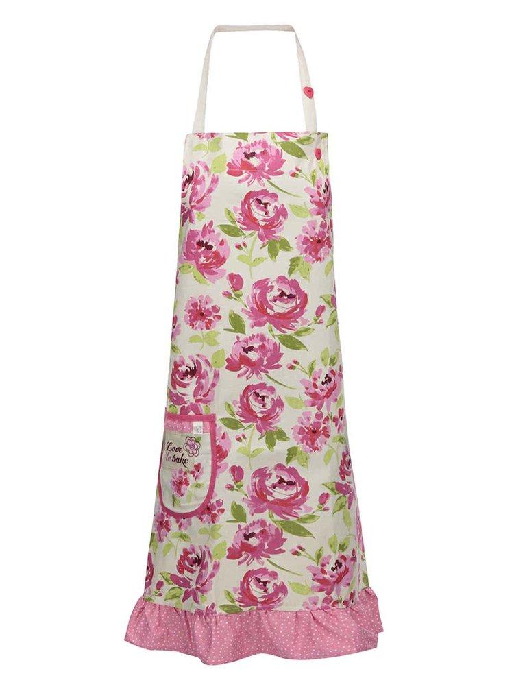 Růžovo-žlutá zástěra s květy Cooksmart Love to Bake