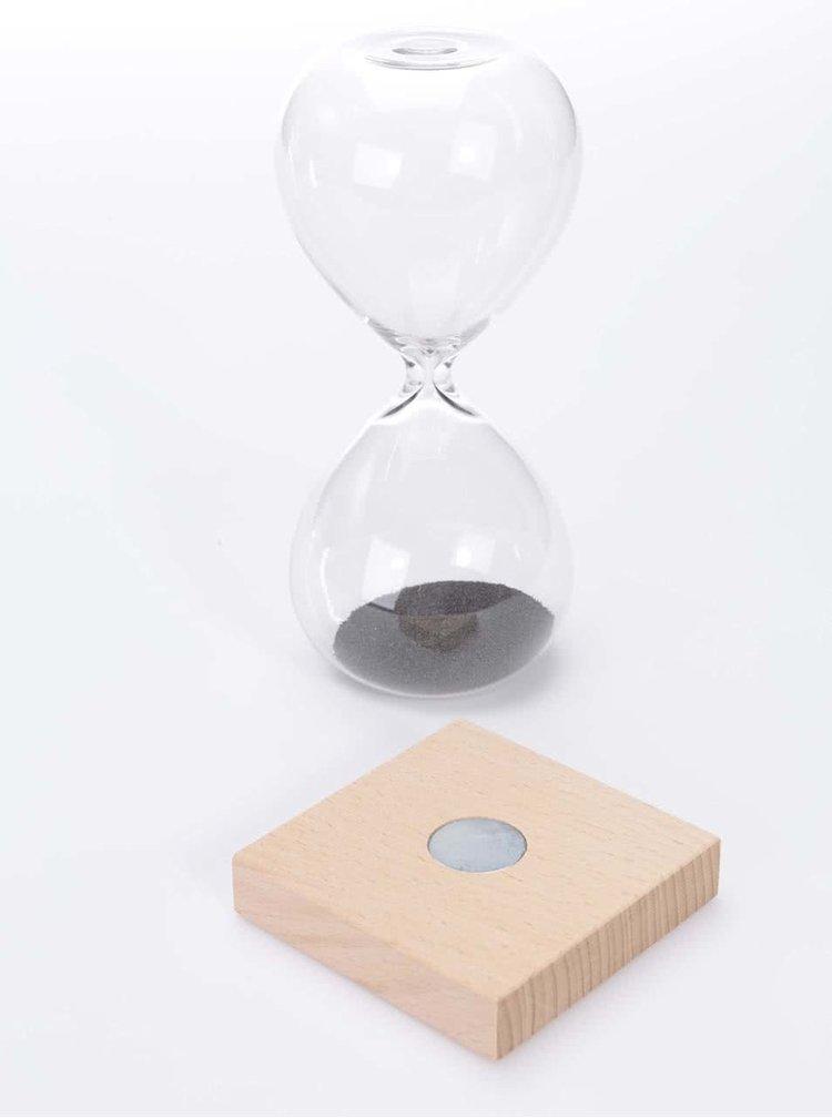 Magnetické přesýpací hodiny s dřevěným podstavcem Kikkerland