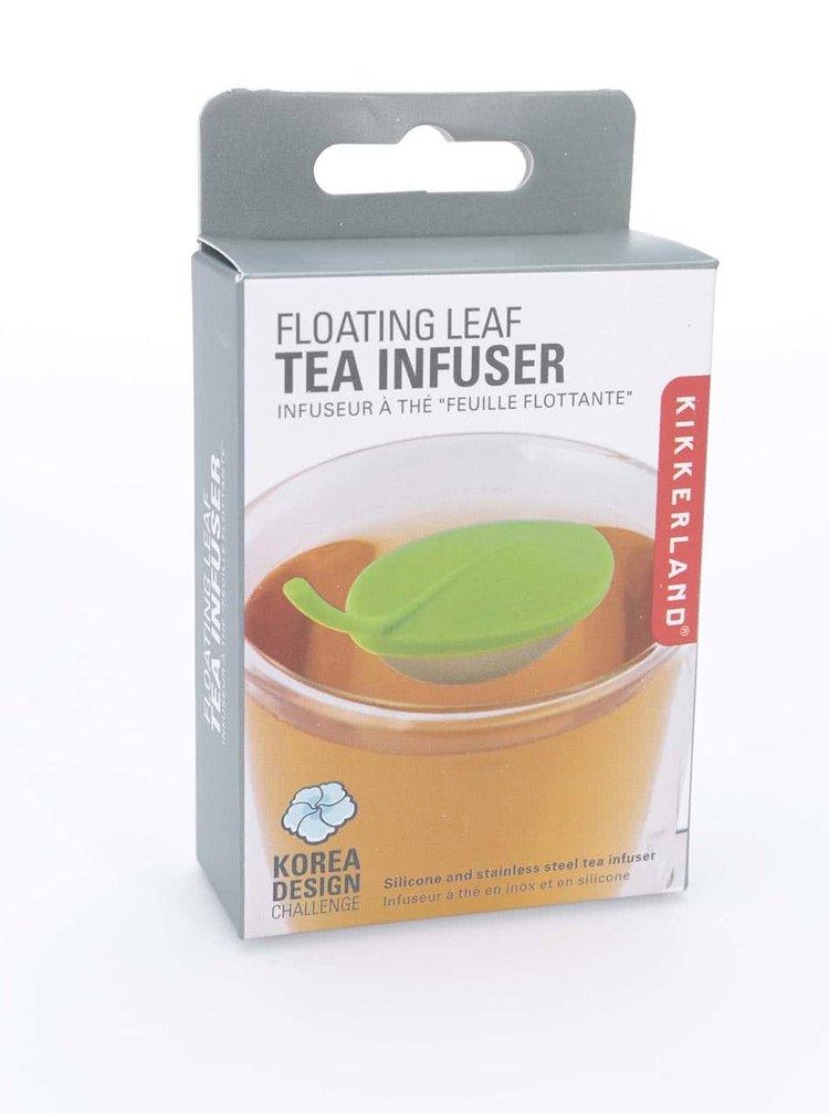 Zelené plávajúce sitko na čaj v tvare listu Kikkerland