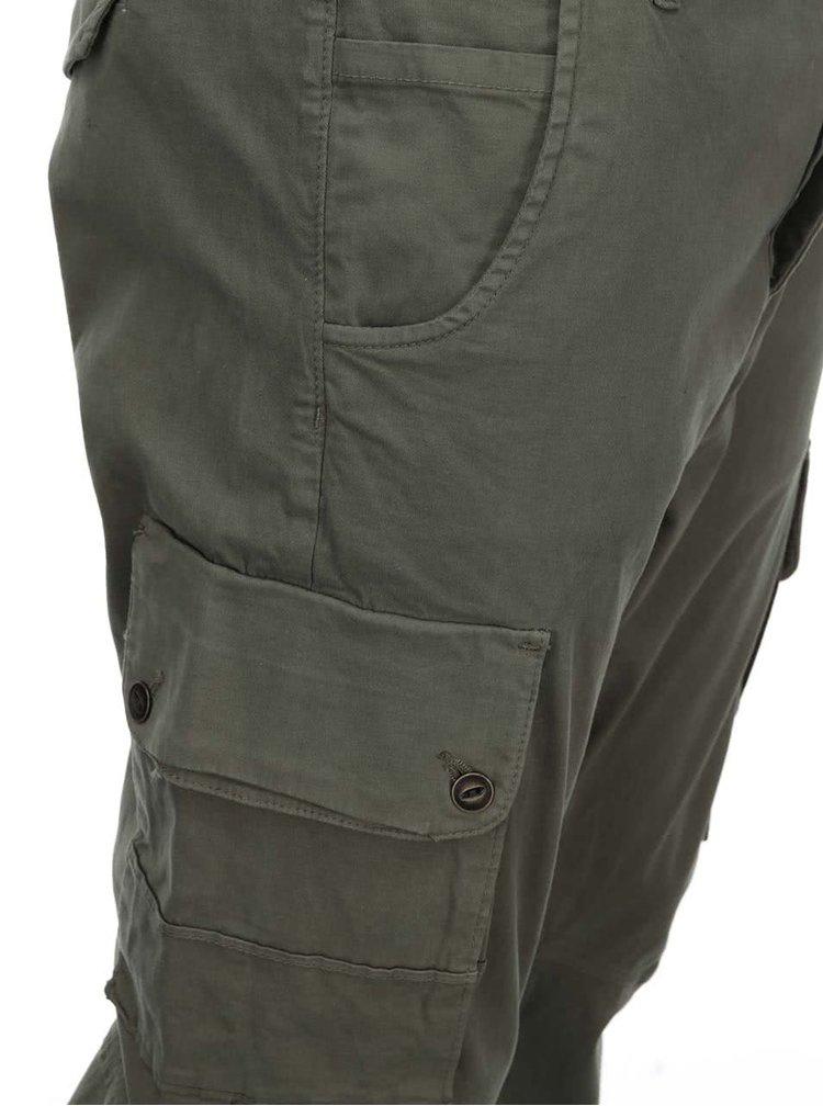 Tmavozelené kapsáčové nohavice Jack & Jones Paul