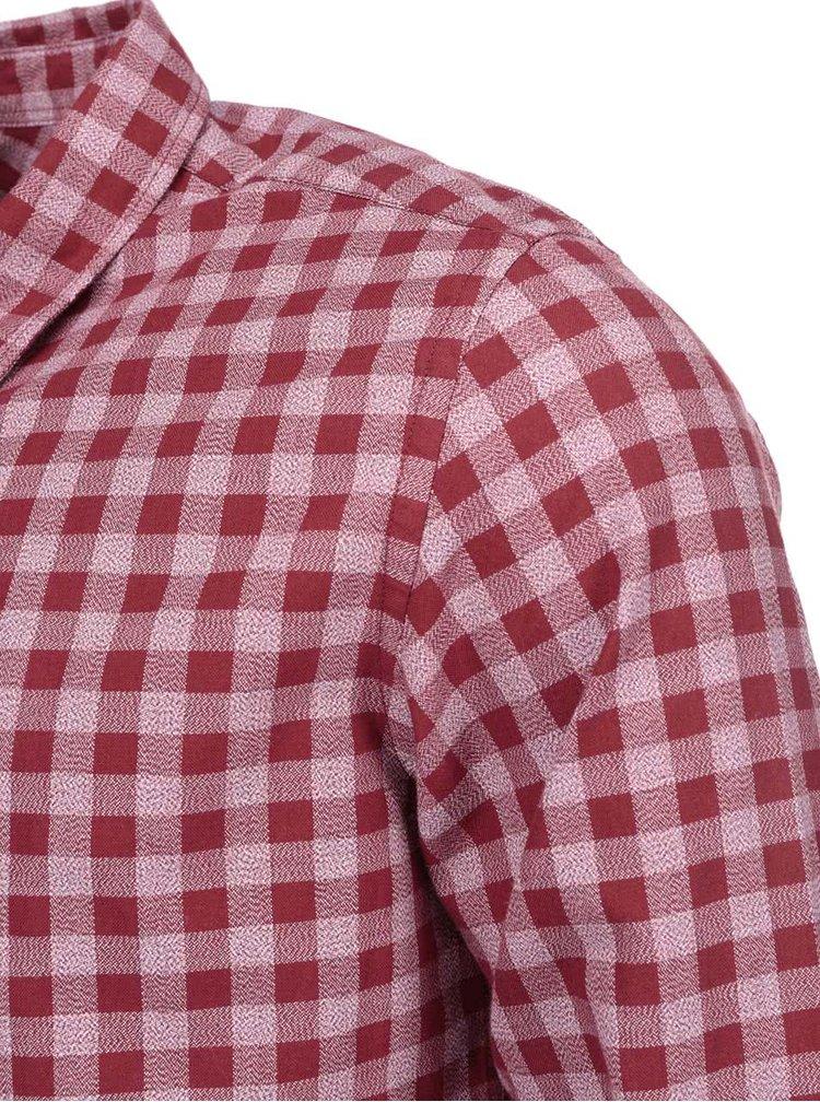 Vínová kostkovaná košile Selected One