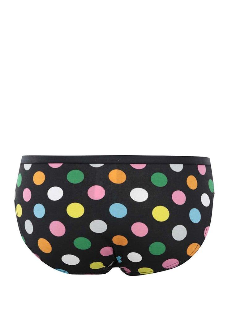 Čierne nohavičky s farebnými gombíkmi Happy Socks Big Dots
