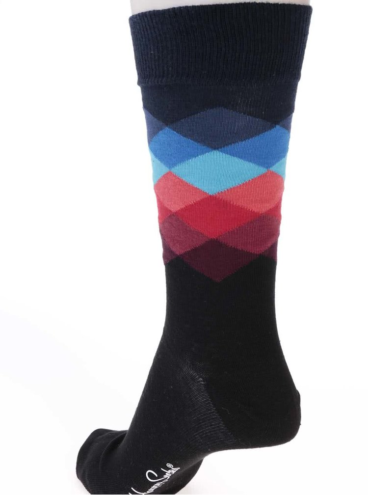 Sosete barbatesti, negre cu imprimeu, model Faded Diamond de la Happy Socks