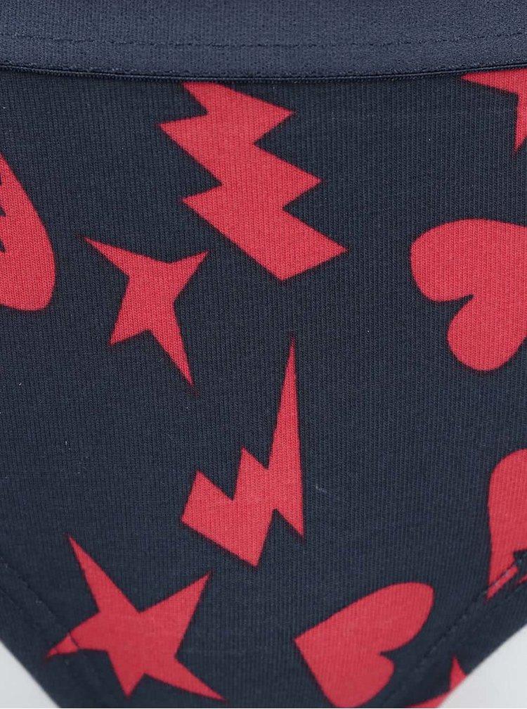 Červeno-modré nohavičky so vzorom Happy Socks Punk Love