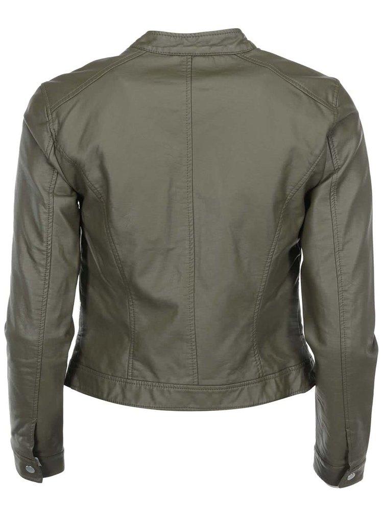 Jachetă verde închis din imitație de piele VERO MODA Irina