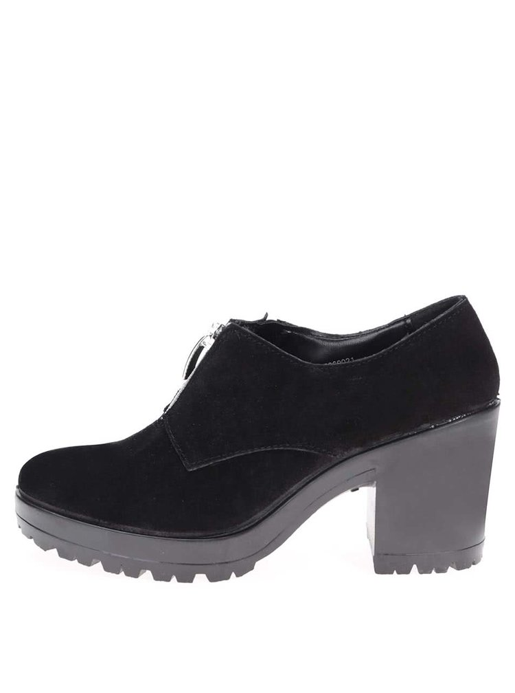 Pantofi cu toc negri din piele PIECES Udele