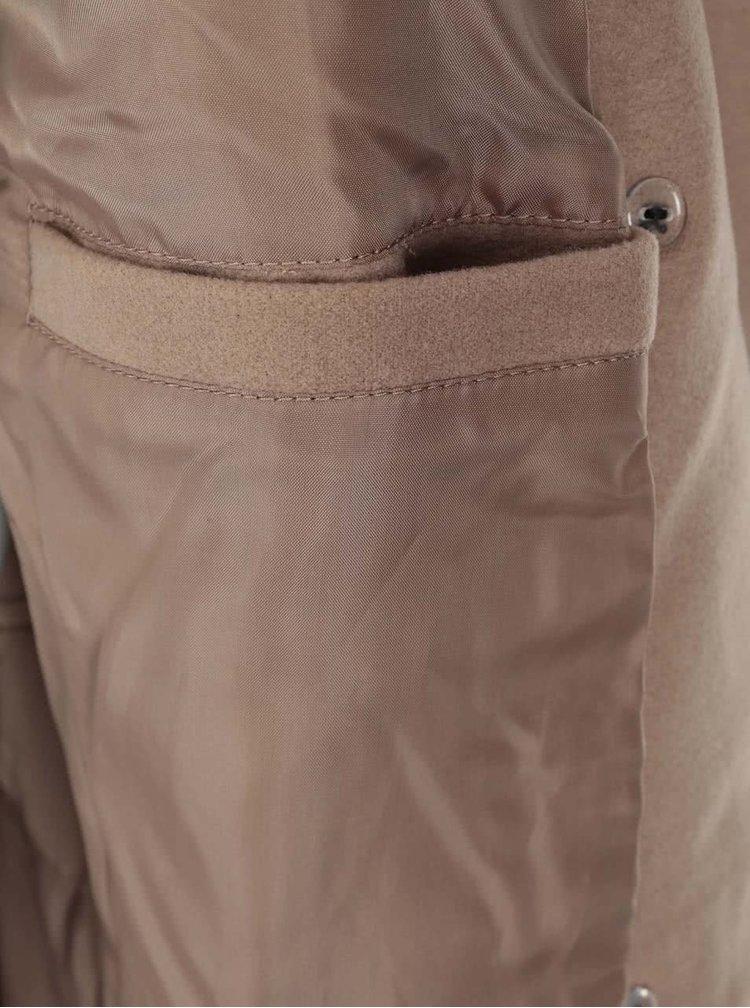 Svetlohnedý dlhý kabát VILA Kimra