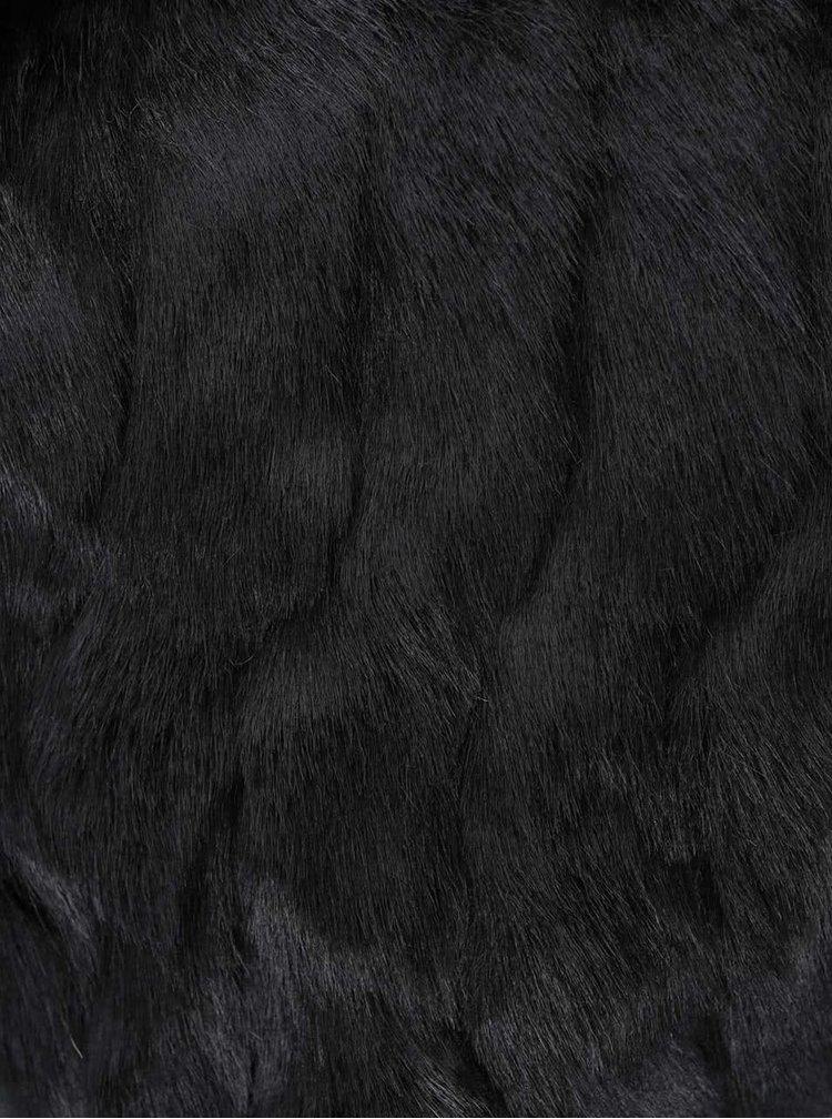 Vestă VILA Perlie din blană artificială - negru