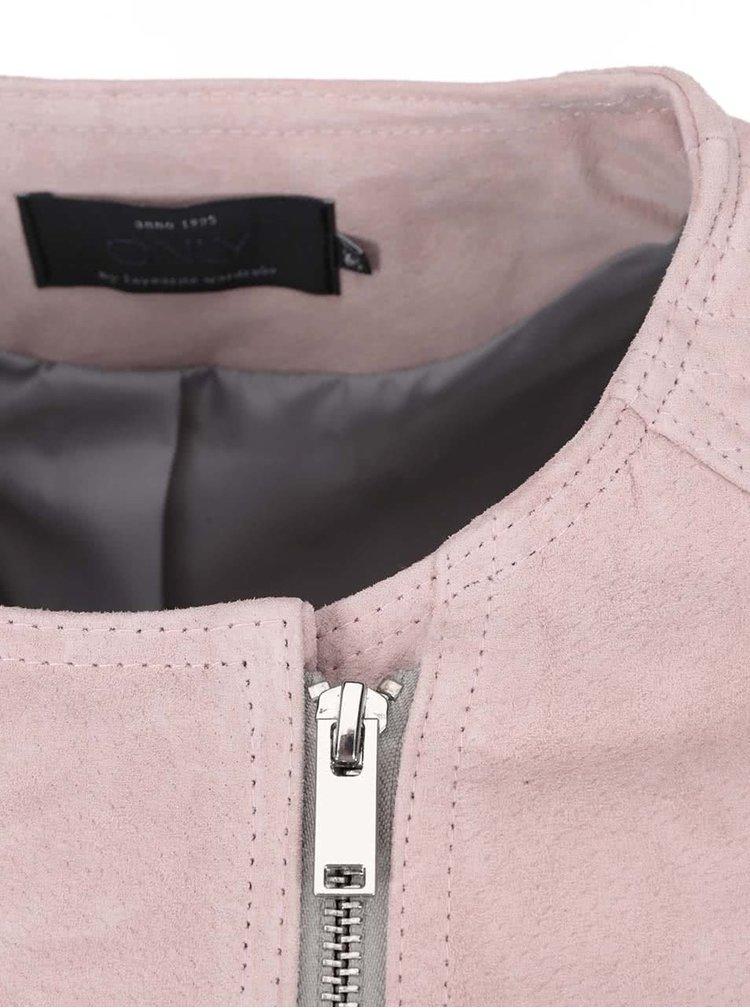 Jachetă din piele Allis ONLY - roz deschis