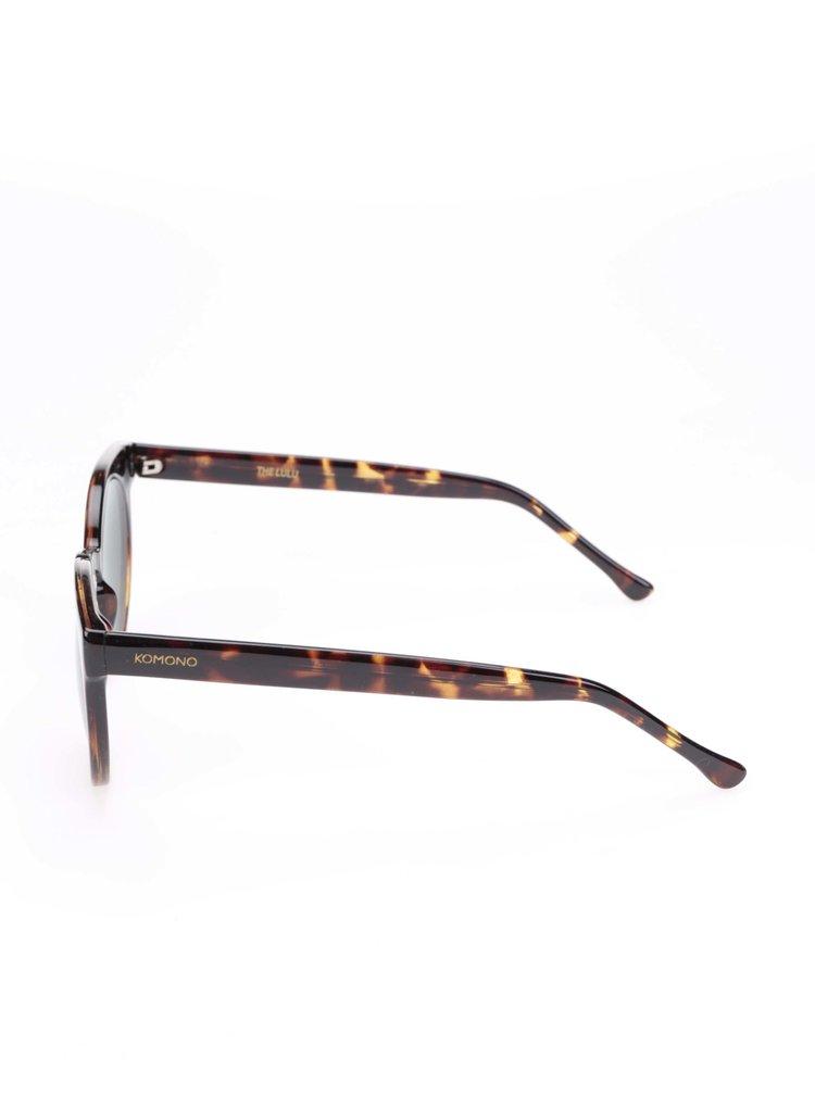 Hnědé dámské sluneční brýle s vzorovanými obroučkami Komono Lulu