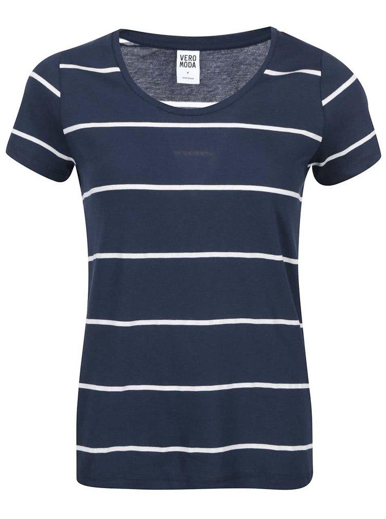 Tricou cu dungi albastre navy VERO MODA Molly