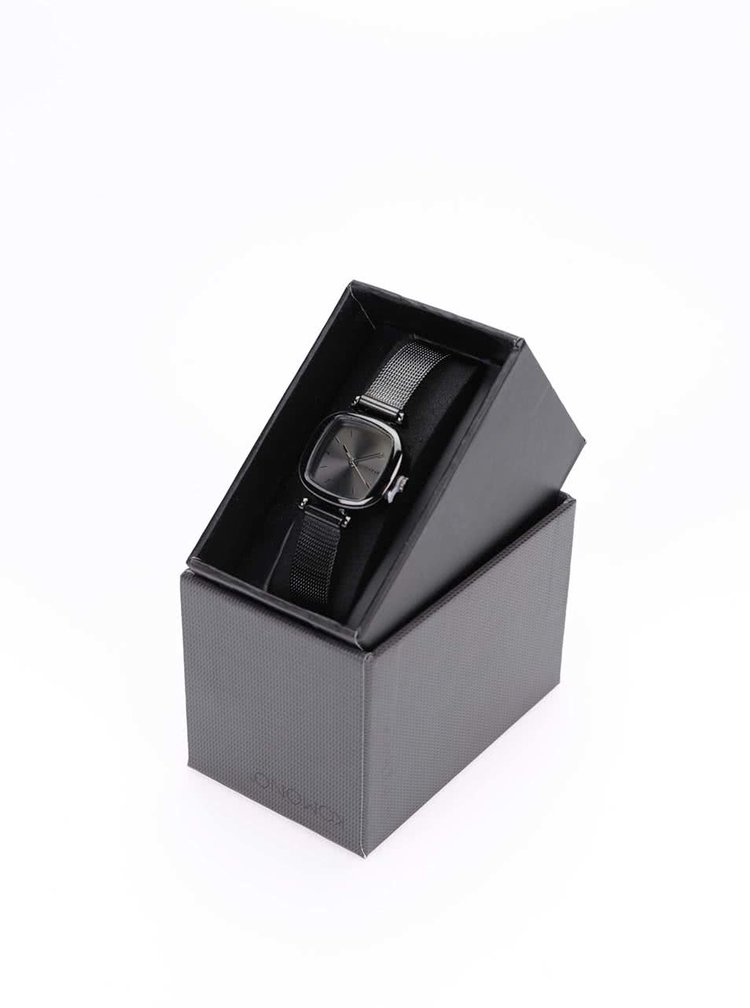 Ceas negru cu bratara metalica pentru femei Komono Moneypenny Royale