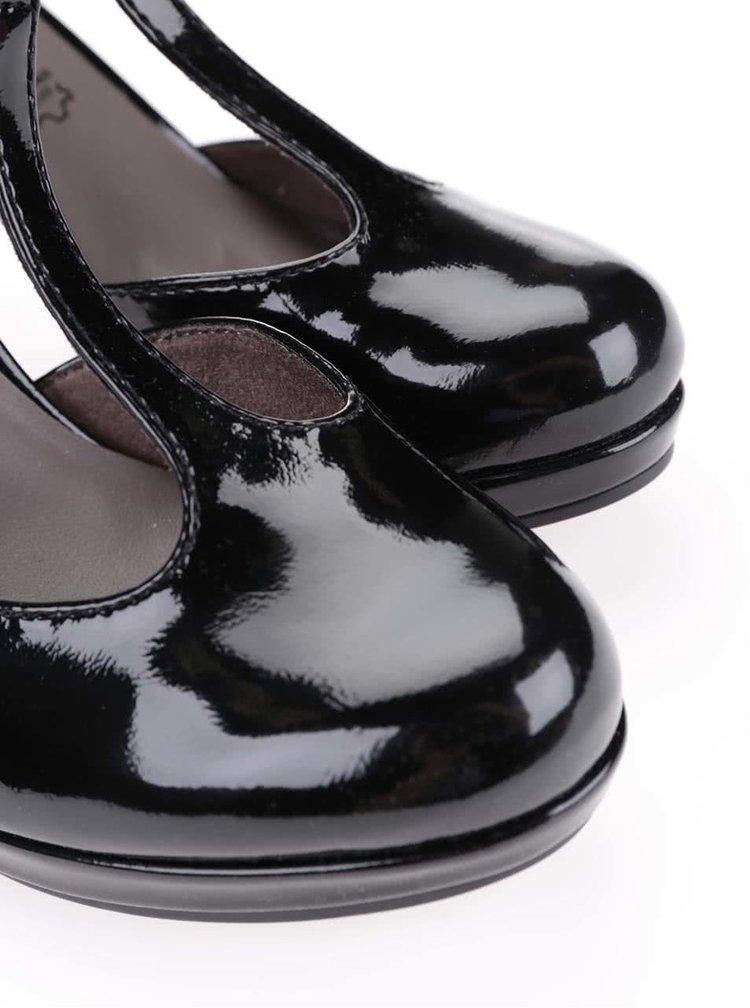Černé lesklé boty na podpatku Tamaris