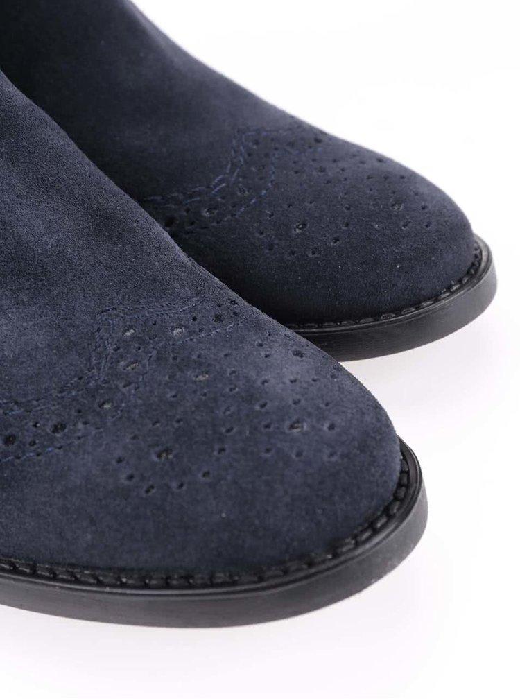 Modré kožené kotníkové brogue boty Tamaris