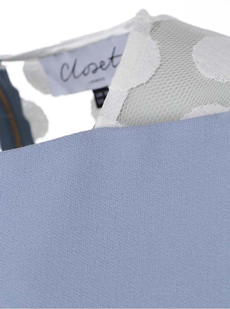 Světle modré šaty s puntíkovanou krajkou Closet