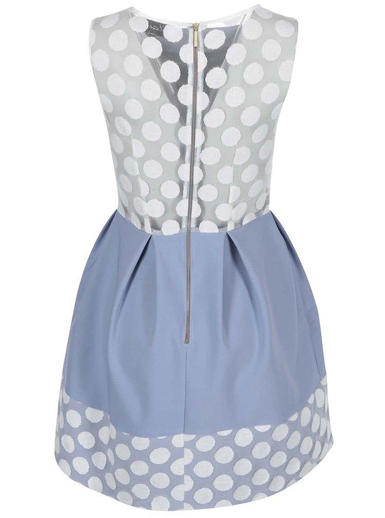 Svetlomodré šaty s bodkovanou čipkou Closet