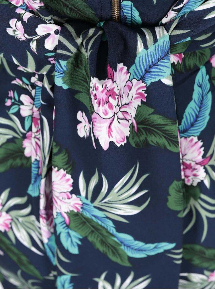 Tmavě modré květované šaty s vázáním Closet