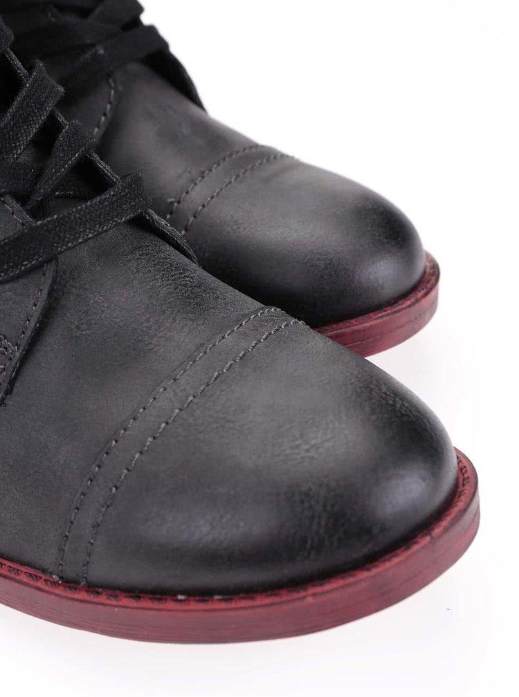Šedé kotníkové boty na šněrování Tamaris