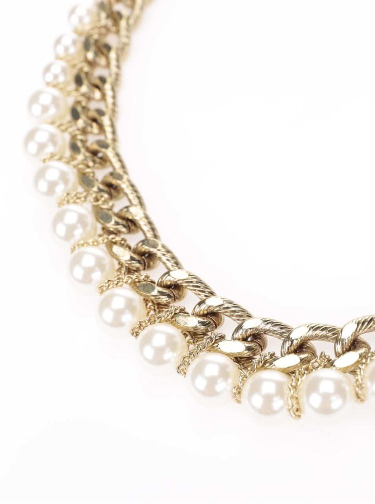 Náhrdelník v zlatej farbe s perličkami Pieces Rilo