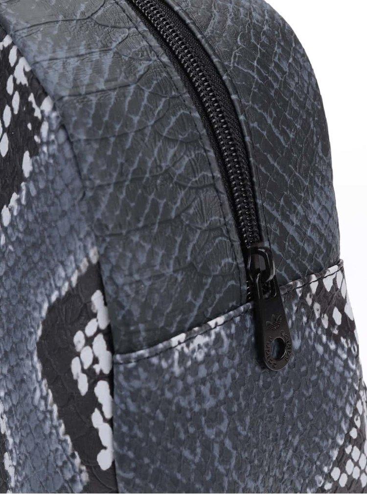 Geanta Bowling in combinatia negru si gri cu imprimeu piele de sarpe de la adidas Originals