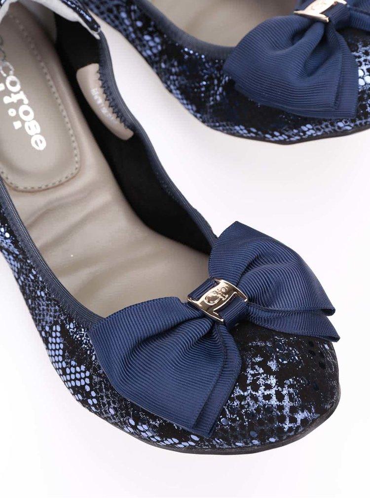 Balerini bleumarin din piele, model Buckingham de la Cocorose London