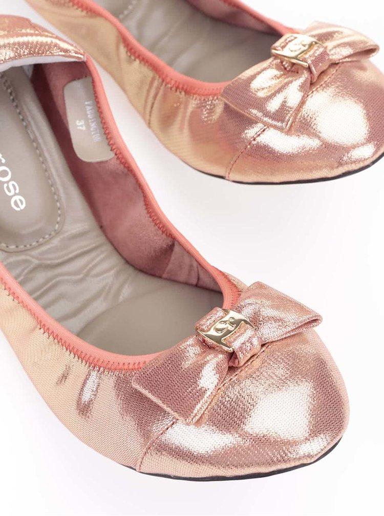Oranžové kožené baleríny s mašlí Cocorose London Paddington