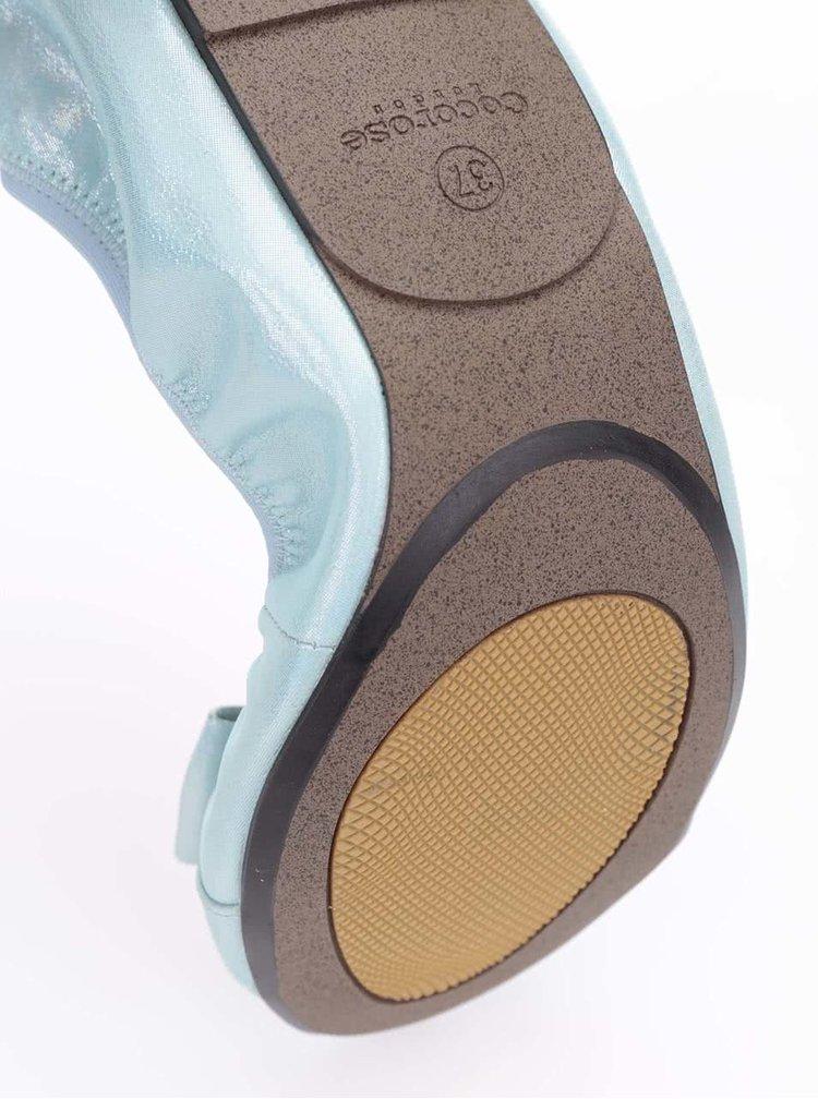 Balerini din piele bleu/verzi, cu fundita, model Paddington de la Cocorose London