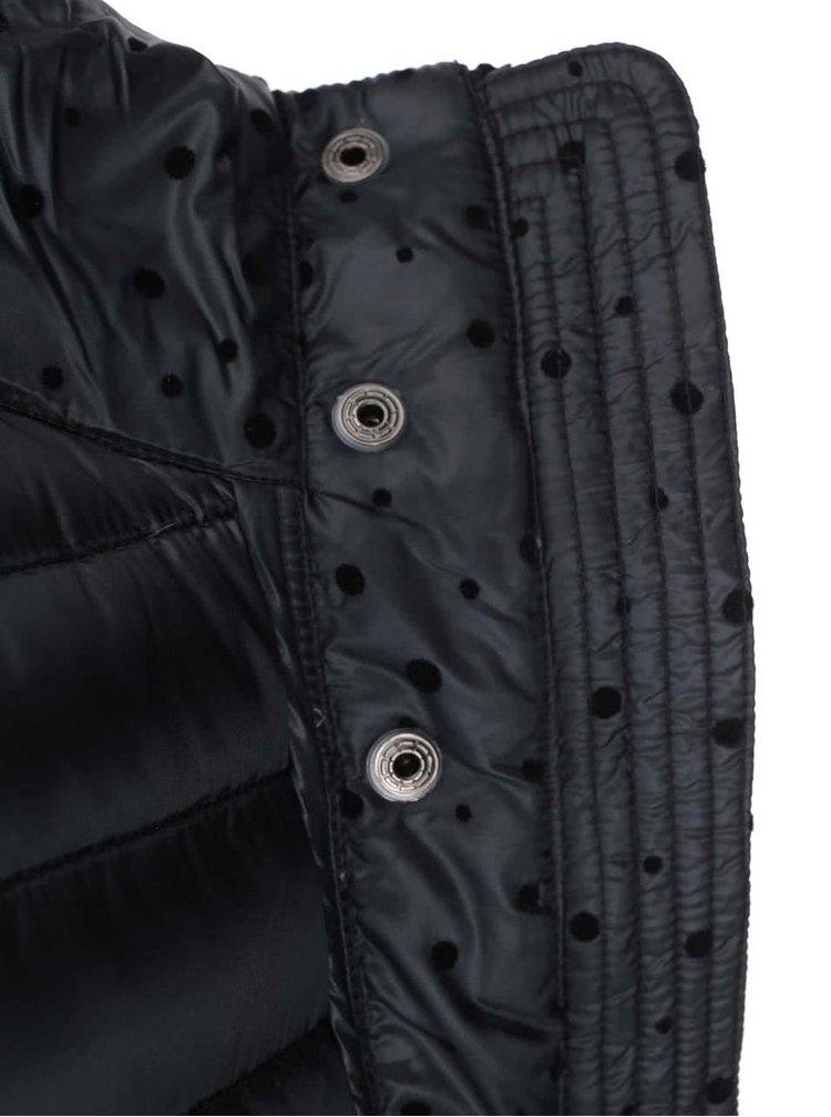 Tmavě šedá péřová bunda s puntíky DEHA