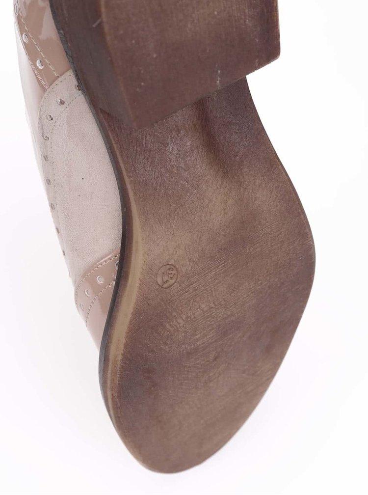 Krémovo-tělové brogue polobotky na nízkém podpatku OJJU